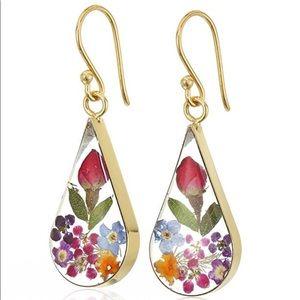 Jewelry - Sterling Silver Pressed Flower Teardrop Earrings